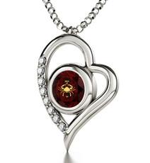 Garnet Inspirational Jewelry Silver Heart Cancer Necklace