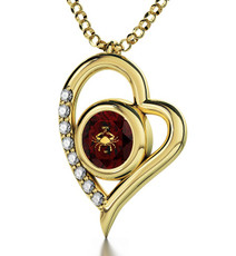 Garnet Inspirational Jewelry Gold Heart Cancer Necklace