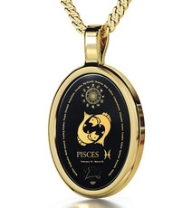 Black Inspirational Jewelry Gold Oval Pisces Necklace