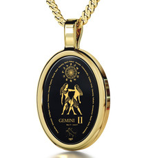 Black Inspirational Jewelry Gold Oval Gemini Necklace