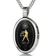 Black Silver Oval Libra necklace from Inspirational Jewelry