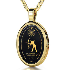 Black Inspirational Jewelry Gold Oval Sagittarius Necklace