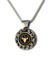 Black Inspirational Jewelry Taurus Zodiac Wheel Necklace