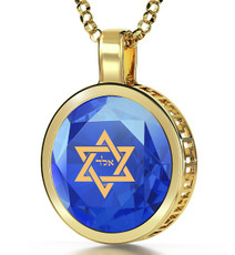 Blue Gold Circle for Protection necklace from Inspirational Jewelry