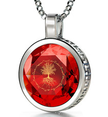 Red Inspirational Jewelry Silver Tree of Life Necklace