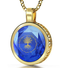 Blue Inspirational Jewelry Gold Tree of Life Necklace