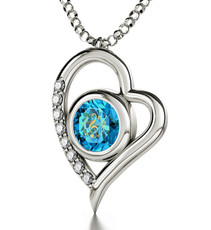 Blue Silver Heart Music Note necklace from Inspirational Jewelry