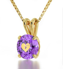 Inspirational Jewelry Cupid's Got You Gold Purple Necklace