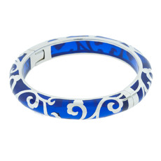 Hamilton Crawford Jewelry Scroll Sapphire and Silver Blue Bracelet