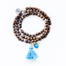 Triple Wrap Brown Wood Bracelet / Necklace With Kabbalah Charm From 7Stitches