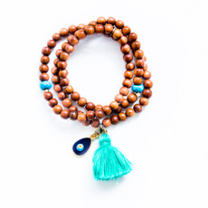 Triple Wrap Bayong Wood Bracelet / Necklace With Kabbalah Charm From 7Stitches