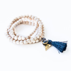 7Stitches Kabbalah Bracelet/Necklace in White wood Dark Blue Tassel