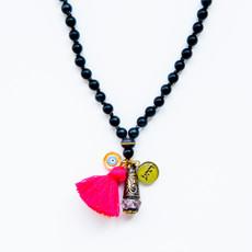 7Stitches Ebony Wood Kabbalah and Crystal Necklace