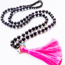 7Stitches Dark Gray wood Mala with Pink Tassel