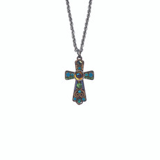Ayala Bar Teal Jesus Loves Me Small Cross