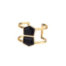 Marcia Moran Liquid Gold Black Onyx Cuff Bracelet
