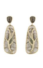Marcia Moran Warm Dark Grey Leaf Branch Earrings