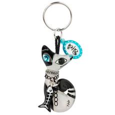 Black Bitey The Cat keychain from Orna Lalo Jewelry