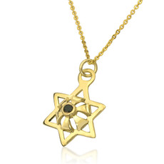 Kabbalah Star Abundance gold Pendant With An Inserted Black Diamond