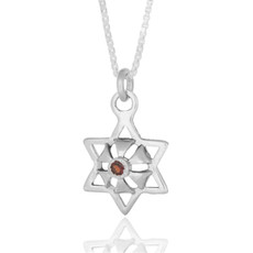 Kabbalah Silver Star Abundance Pendant With An Inserted Ruby
