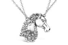 Silver Spoon Horse Necklace
