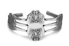 Silver Spoon Fork Laureate Cuff Bracelet