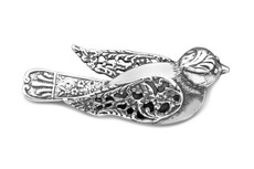 Silver Spoon Bird Pin