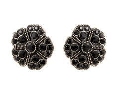 Michal Negrin Black Round Flower Earrings