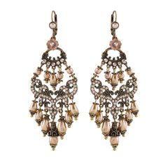 Michal Negrin Brown Chandelier Earrings - Multi Color
