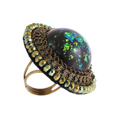 Michal Negrin Encased Flower Ring - Multiple Colors
