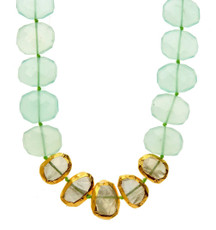 Chalcedony and Prehnite Nugget Necklace by Nava Zahavi - New Arrival