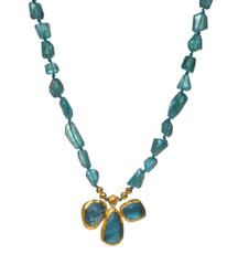Apatite and Gold Necklace by Nava Zahavi - New Arrival