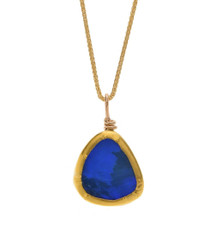 Deep Blue Opal Gold Necklace - New Arrival