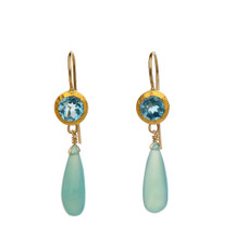 Blue Topaz and Chalcedony Earrings - New Arrival