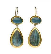 Carefree Aqua and Labradorite Earrings - New Arrival