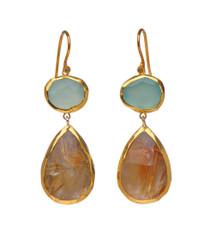 Desert Island Chalcedony and Ruthilated Quartz Earrings by Nava Zahavi - New Arrival