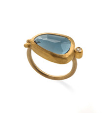 Deep Blue Tourmaline Gold Ring by Nava Zahavi - New Arrival