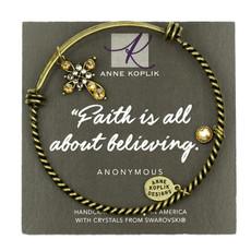 Anne Koplik Cross Faith Charm Bangle