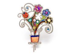 Judaica Flowers Pot Pin
