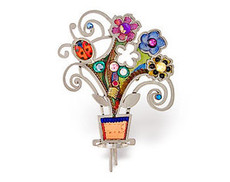 Judaica Flowers Pot Pin - One Left