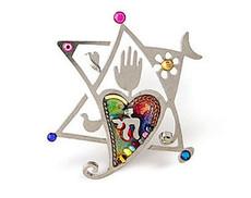 Jewish Jewelry Star Heart & Chai Pin