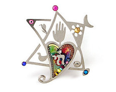Jewish Jewelry Star Heart & Chai Pin - One Left