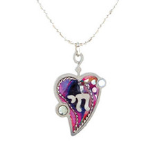 Jewish Jewellery Heart And Chai Necklace