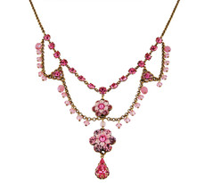 Michal Negrin Jewelry Pink Two Flowers Necklace