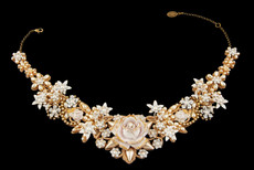 Michal Negrin Jewelry White & Gold Rose Necklace