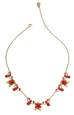 Michal Negrin Jewelry Red Flowers Necklace