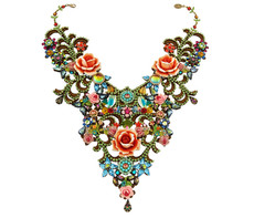 Michal Negrin Jewelry One Of A Kind Large Roses Necklace - Multi Color