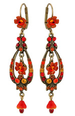 Michal Negrin Jewelry Bell Flower Orange Red Hook Earrings