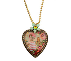 Michal Negrin Jewelry Crystal Heart Necklace - 100-099720-069 - Multi Color