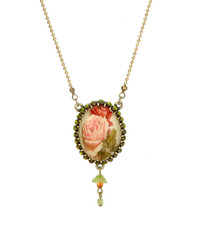 Michal Negrin Jewelry Oval Roses Flower Necklace